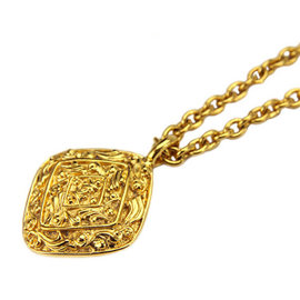 Chanel Gold Tone Hardware Rhombus Coco-Mark Long Chain Necklace