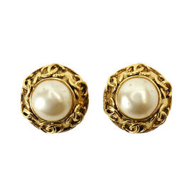Chanel Gold Tone Hardware and Faux Pearl Earrings