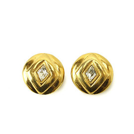 Chanel Gold Tone Hardware and Rhinestone Earrings