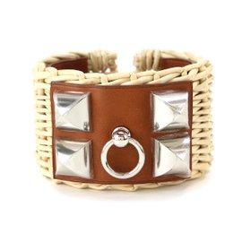 Hermes Collier de Chien Veau Barenia, Osier & Silver Tone Hardware Medor Picnic Cuff Bangle Bracelet