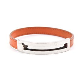 Hermes Silver Tone Hardware and Leather Puspus Bracelet