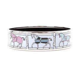 Hermes Silver Tone Hardware and Enamel GM Bangle Bracelet