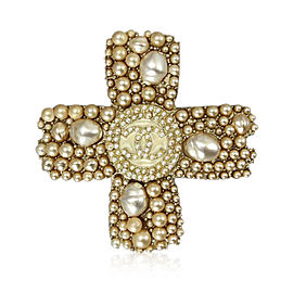 Chanel Gold Tone Hardware with Faux Pearl Cross Brooch