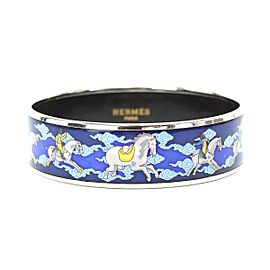 Hermes Silver Tone Hardware and Enamel MM Bangle Cuff Bracelet