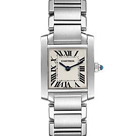 Cartier Tank Francaise Silver Dial Blue Hands Ladies Watch