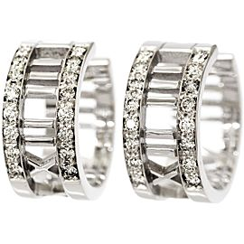 Tiffany & Co. Atlas 18K White Gold with Diamond Earrings