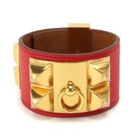 Hermes Collier de Chien Swift Leather & Gold Tone Hardware Bracelet