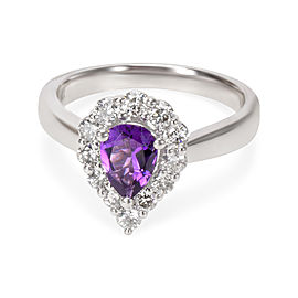 Diamond Halo Pear Shape Amethyst Ring in 14k White Gold (0.60 CTW)