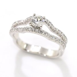 Chanel 18K White Gold & 0.33ct Diamond Camelia Ring Size 4