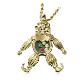 Chopard Happy Diamond 18K Yellow Gold Ruby Sapphire Emerald & Diamond Clown Pendant Necklace