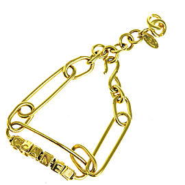Chanel Gold Tone Hardware CC Logo Chain Bracelet