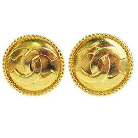 Chanel Gold Tone Hardware CC Logo Clip-On Earrings