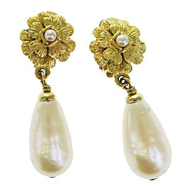 Chanel Gold Tone Hardware with Simulated Glass Pearl Clip-On Earrings