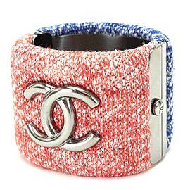 Chanel Tweed & Silver Tone Hardware Bangle Bracelet
