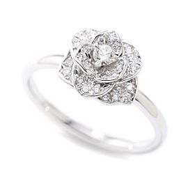 Piaget 18K White Gold with 0.22ctw Diamond Rose Ring Size 5.25