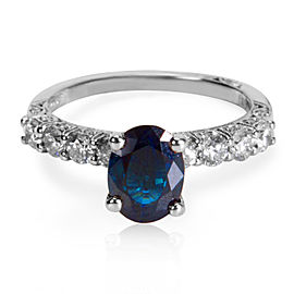 Tacori 18K White Gold with 1.58ct Sapphire and 0.65ctw Diamond Ring Size 6.5