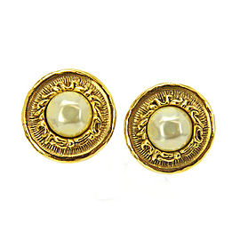 Chanel Vintage Gold Tone Hardware with Glass Simulated Pearl Logo CC Round Earrings