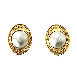 Chanel Gold Tone Hardware with Glass Simulated Pearl Oblong Earrings