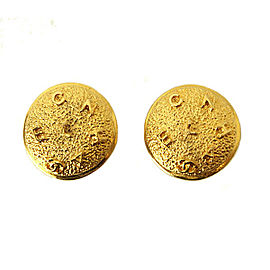 Chanel Gold Tone Hardware Coco-Mark Round Earrings