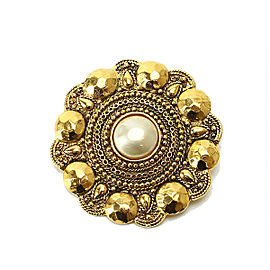 Chanel Gold Tone Hardware with Glass Simulated Pearl Brooch