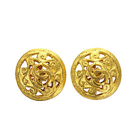 Chanel Gold Tone Hardware Round Earrings