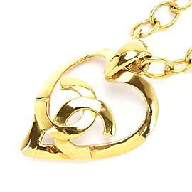 Chanel Vintage Gold Plated Heart CC Mark Necklace