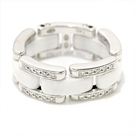 Chanel 18K White Gold & White Ceramic with Diamond Ultra Ring Size 3.5