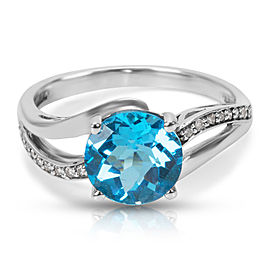 Fashion Ring in 10K White Gold with Blue Topaz and Diamonds (0.09 CTW)