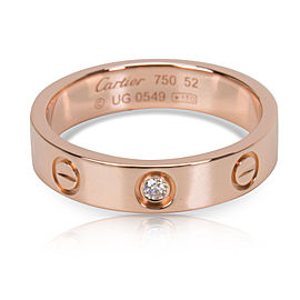 Cartier Love 18K Rose Gold with 0.02ct Diamond Ring Size 6
