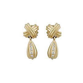 Tiffany & Co. 18K Yellow Gold X Drop Diamond Earrings