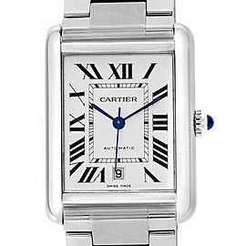 Cartier Tank Solo XL Silver Dial Steel Mens Watch W5200028