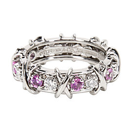 Tiffany & Co. Schlumberger 950 Platinum 0.75ct Pink Sapphire & 0.59ct Diamond Ring Size 6.5