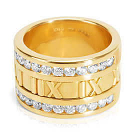 Tiffany & Co. Atlas 18K Yellow Gold with 0.84ct Diamond Ring Size 5.5