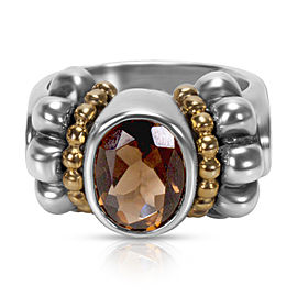 Lagos 18K Yellow Gold & 925 Sterling Silver with Smokey Quartz Ring Size 3.75