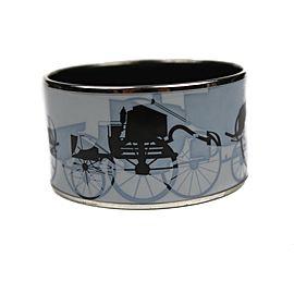 Hermes Silver Tone Hardware & Enamel Wide Blue Carriage Cuff Bangle Bracelet