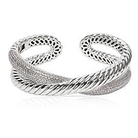 David Yurman Sterling Silver with 1.50ctw Diamond Crossover X Cuff Bracelet
