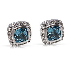 David Yurman Albion 925 Sterling Silver Blue Topaz & 0.50ct Diamond Earrings