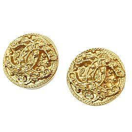 Chanel Gold Tone CC Logo Vintage Earrings
