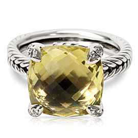 David Yurman Chatelaine 925 Sterling Silver Lemon Citrine & 0.05ct Diamond Ring Size 5