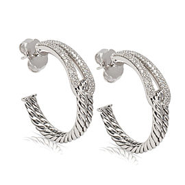 David Yurman 925 Sterling Silver with 0.57ct Diamond Cable Earrings