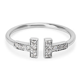 Tiffany & Co. 18K White Gold with 0.12ct Diamond T Ring Size 8