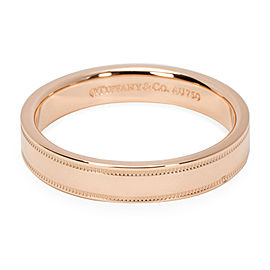 Tiffany & Co. 18K Rose Gold Essentials Double Milgrain Wedding Band Ring Size 8.25