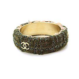 Chanel Tweed Gold Tone Bangle Bracelet