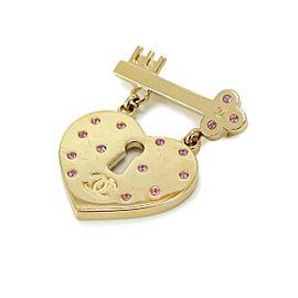 Chanel Gold Tone Heart Lock CC Brooch