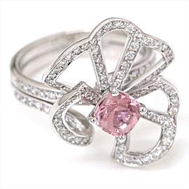Louis Vuitton 18K White Gold with Pink Tourmaline & Diamond Ring Size 6