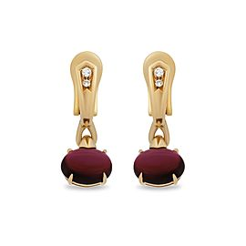 Bulgari 18K Yellow Gold Rubellite Diamond Earrings