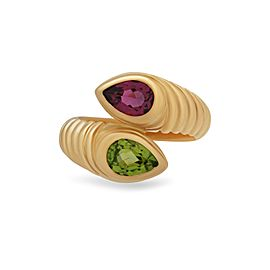 Bulgari 18K Yellow Gold Doppio Pink & Green Tourmaline Ring Size 5.75