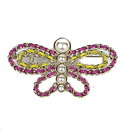Chanel Gold Tone Hardware & Leather with Simulated Glass Pearl Butterfly Pin Brooch
