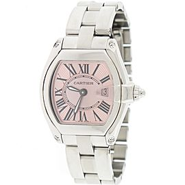 Cartier Roadster Ladies Small Pink Sunray Roman Dial Steel W62017V3 Box&Papers