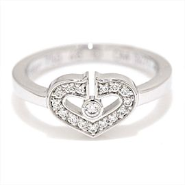 Cartier C Heart Ring 18K White Gold with Diamond Size 3.75